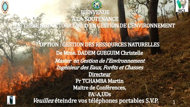 BIENVENUE A LA SOUTENANCE DE THESE DE DOCTORAT/Ph.D EN GESTION DE L'ENVIRONNEMENT De Mme. DADEM GUEGUIM Christelle Master ...