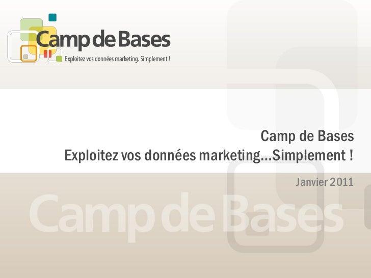 Camp de BasesExploitez vos données marketing…Simplement !                                   Janvier 2011