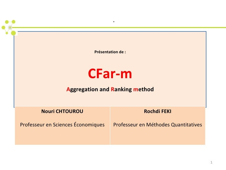 Présentation de : CFar-m A ggregation and  R anking  m ethod   . Nouri CHTOUROU Professeur en Sciences  É conomiques Rochd...