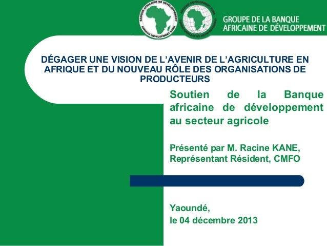 DÉGAGER UNE VISION DE L'AVENIR DE L'AGRICULTURE EN AFRIQUE ET DU NOUVEAU RÔLE DES ORGANISATIONS DE PRODUCTEURS  Soutien de...