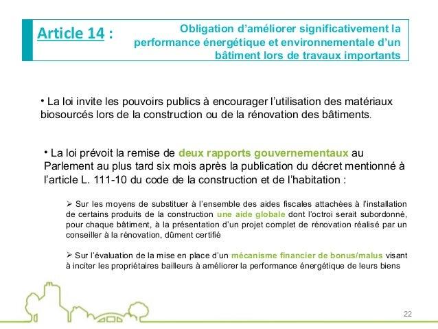 Pr sentation de la loi transition energ tique pour la for Loi sur les constructions