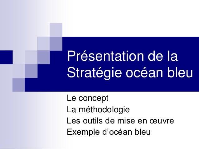 Présentation de laStratégie océan bleuLe conceptLa méthodologieLes outils de mise en œuvreExemple d'océan bleu