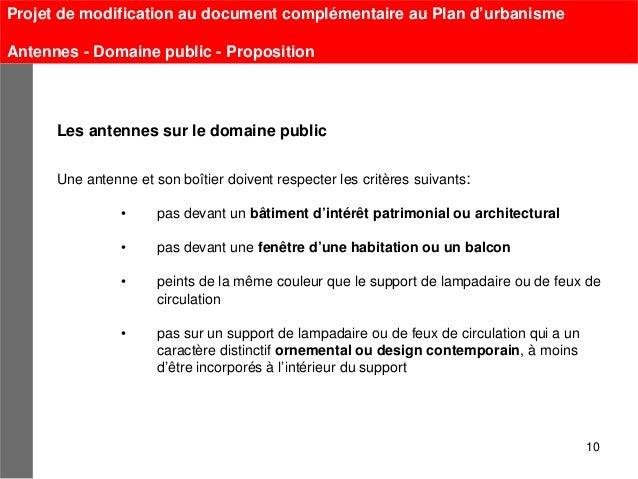 Projet de modification au document complémentaire au Plan d'urbanismeAntennes - Domaine public - Proposition      Les ante...