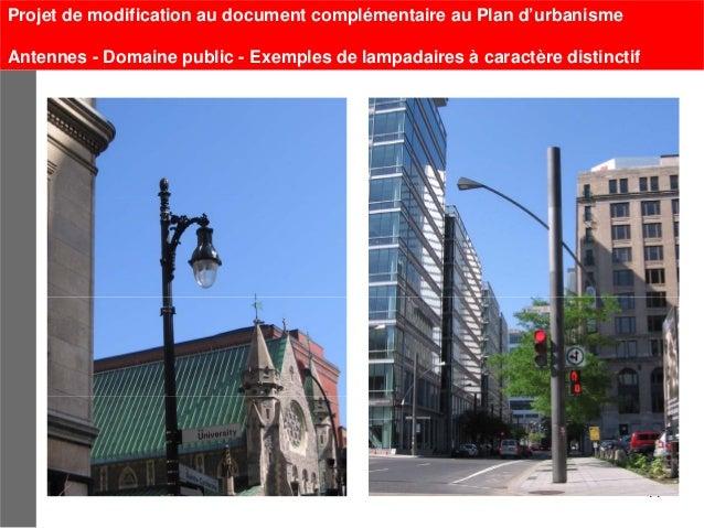 Projet de modification au document complémentaire au Plan d'urbanismeAntennes - Domaine public - Exemples de lampadaires à...