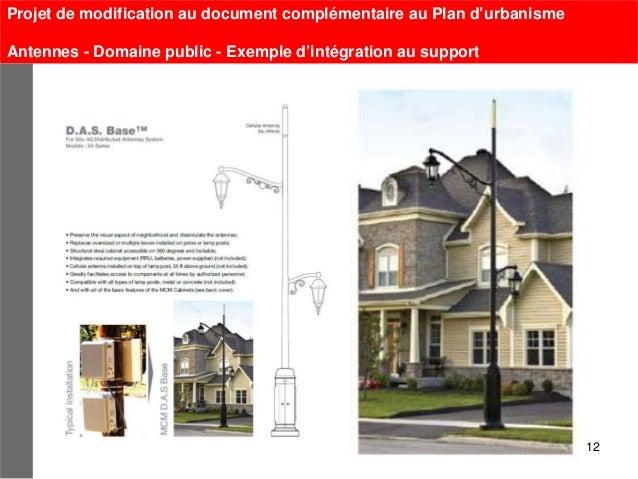 Projet de modification au document complémentaire au Plan d'urbanismeAntennes - Domaine public - Exemple d'intégration au ...