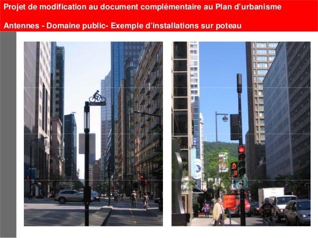 Projet de modification au document complémentaire au Plan d'urbanismeAntennes - Domaine public- Exemple d'installations su...