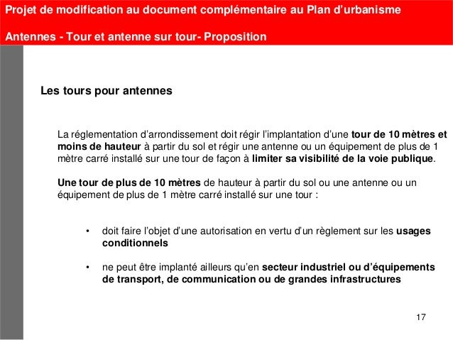 Projet de modification au document complémentaire au Plan d'urbanismeAntennes - Tour et antenne sur tour- Proposition     ...