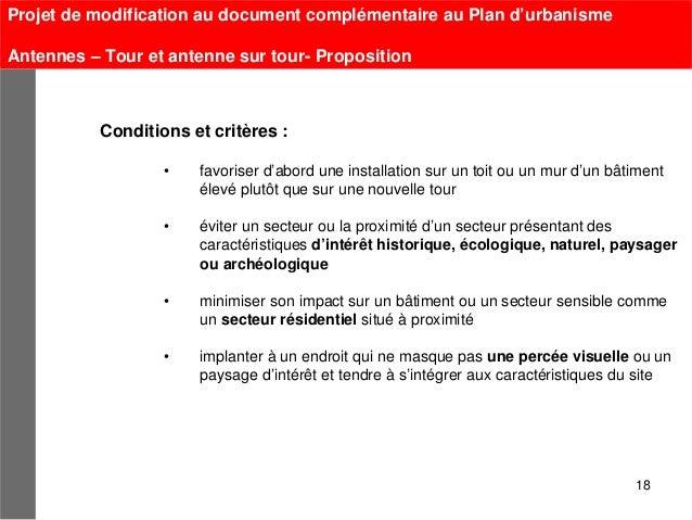 Projet de modification au document complémentaire au Plan d'urbanismeAntennes – Tour et antenne sur tour- Proposition     ...