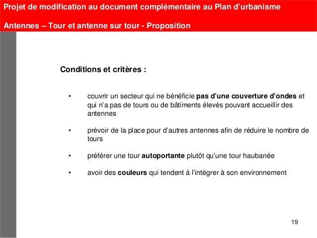 Projet de modification au document complémentaire au Plan d'urbanismeAntennes – Tour et antenne sur tour - Proposition    ...
