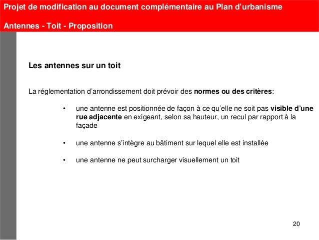 Projet de modification au document complémentaire au Plan d'urbanismeAntennes - Toit - Proposition      Les antennes sur u...