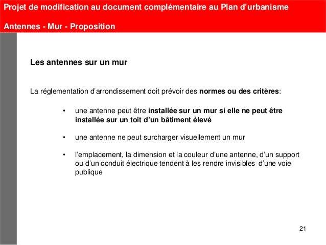 Projet de modification au document complémentaire au Plan d'urbanismeAntennes - Mur - Proposition      Les antennes sur un...