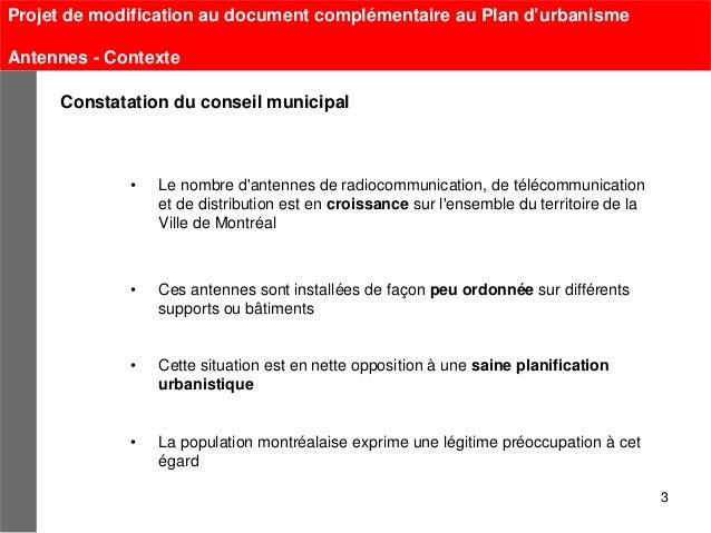 Projet de modification au document complémentaire au Plan d'urbanismeAntennes - Contexte     Constatation du conseil munic...