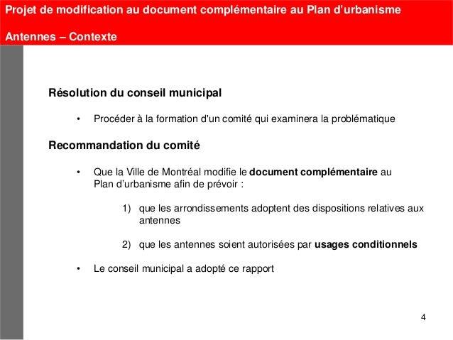 Projet de modification au document complémentaire au Plan d'urbanismeAntennes – Contexte       Résolution du conseil munic...
