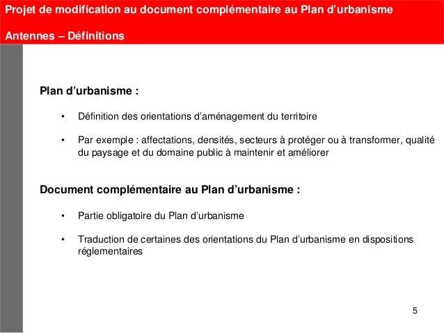 Projet de modification au document complémentaire au Plan d'urbanismeAntennes – Définitions      Plan d'urbanisme :       ...
