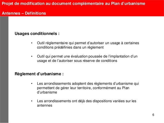 Projet de modification au document complémentaire au Plan d'urbanismeAntennes – Définitions      Usages conditionnels :   ...
