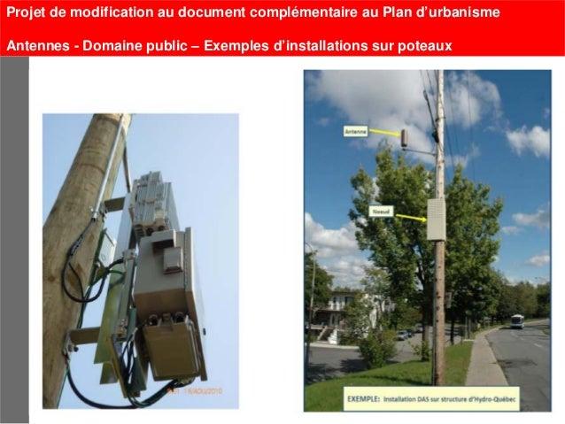 Projet de modification au document complémentaire au Plan d'urbanismeAntennes - Domaine public – Exemples d'installations ...