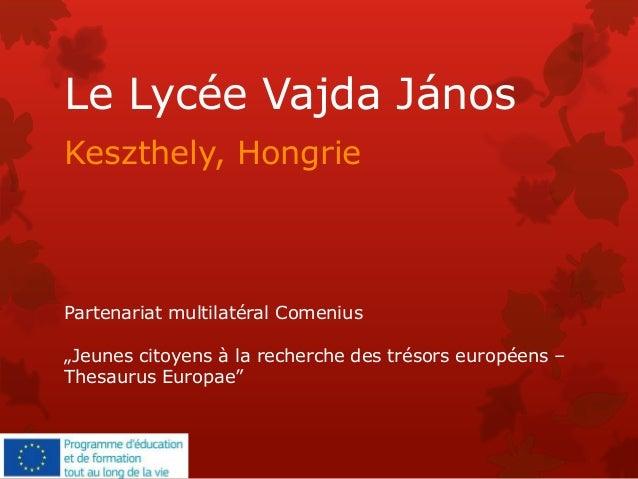 """Le Lycée Vajda János Keszthely, Hongrie Partenariat multilatéral Comenius """"Jeunes citoyens à la recherche des trésors euro..."""