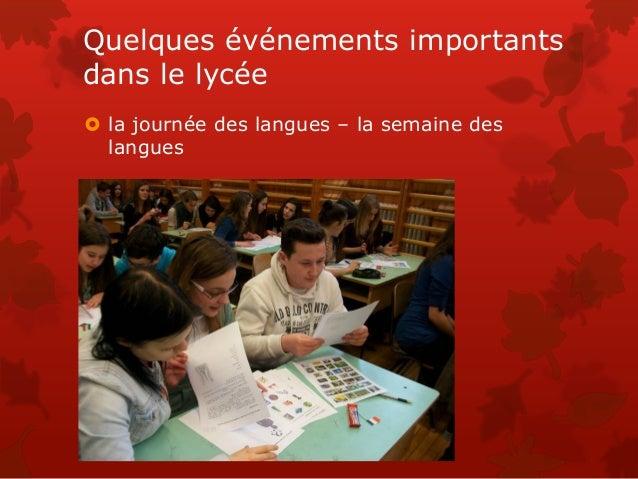 Quelques événements importants dans le lycée  la journée des langues – la semaine des langues