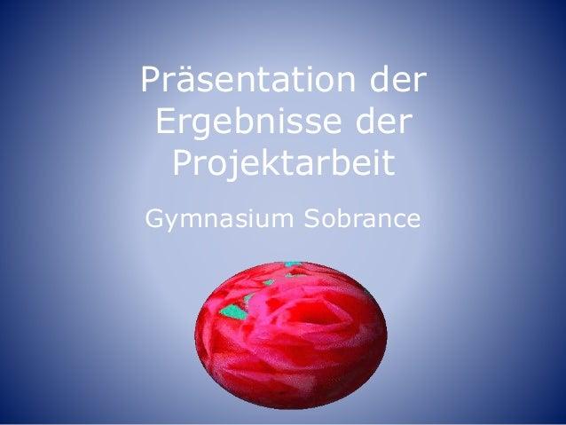 Präsentation der Ergebnisse der Projektarbeit Gymnasium Sobrance