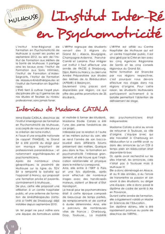 18 L'Institut Inter-RégMULHOUSE en Psychomotricité L'Institut Inter-Régional de Formation en Psychomotricité de Mulhouse a...