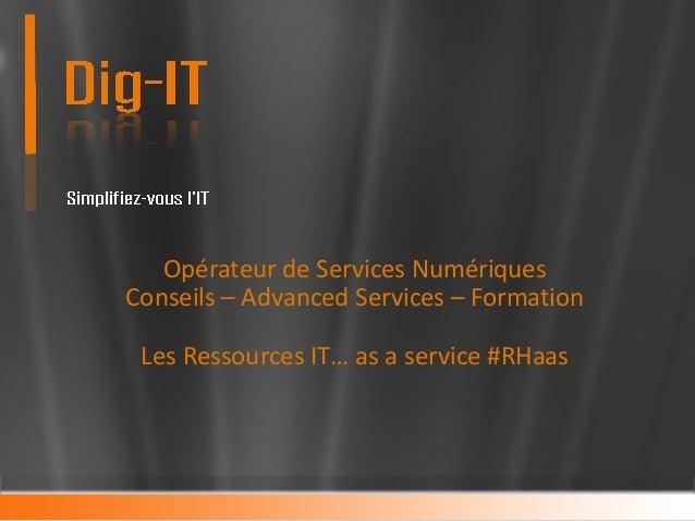 Conseils - Advanced Services & Formation – dans les métiers de l'IT Les Ressources IT… As a Service #RHaas