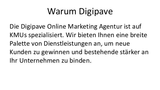 Digipave Online Marketing Agentur Schweiz (in German) Slide 3