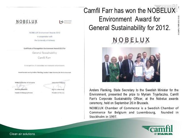 1                      C L E A N     Camfil Farr has won the NOBELUX                                  A I R     S O L U T ...