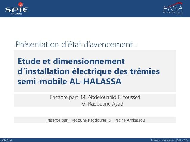 Présentation d'état d'avencement : Encadré par: M. Abdelouahid El Youssefi M. Radouane Ayad Etude et dimensionnement d'ins...