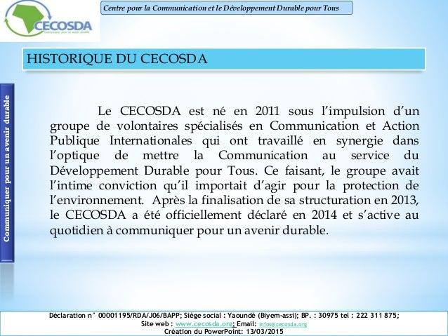 Présentation du CECOSDA Cameroun Slide 3