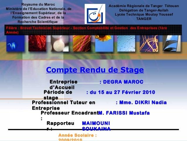 Royaume du Maroc Ministère de l'Education Nationale, de l'Enseignement Supérieur, de la Formation des Cadres et de la Rech...