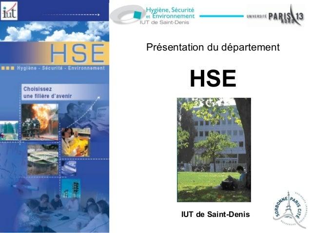 Présentation du département HSE IUT de Saint-Denis