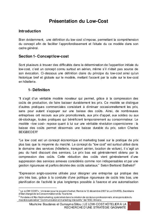 Mouhcine Boudanes et Oumayma Stitou | LE LOW-COST HÔTELIER À LA  RECHERCHE D'UNE STRATÉGIE GAGNANTE  1  Présentation du Lo...