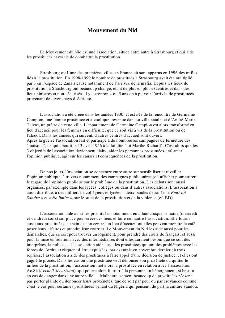 Mouvement du Nid        Le Mouvement du Nid est une association, située entre autre à Strasbourg et qui aideles prostituée...