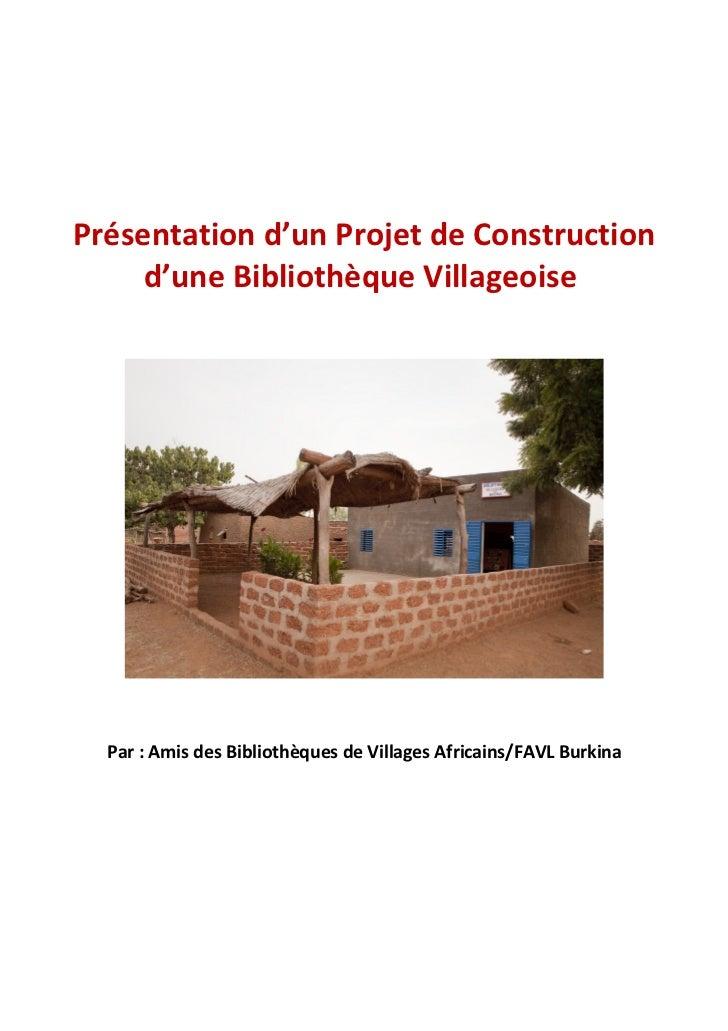 Présentation d'un project de construction d'une bibliothèque villageoise