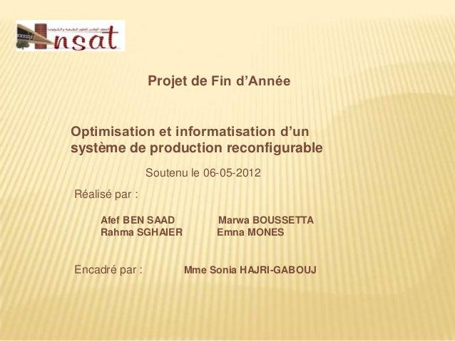 Projet de Fin d'AnnéeOptimisation et informatisation d'unsystème de production reconfigurable                Soutenu le 06...