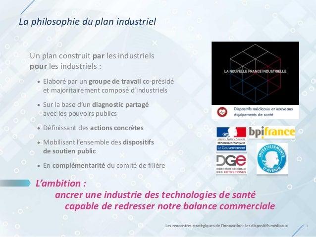 La philosophie du plan industriel 2Les rencontres stratégiques de l'innovation : les dispositifs médicaux Un plan construi...