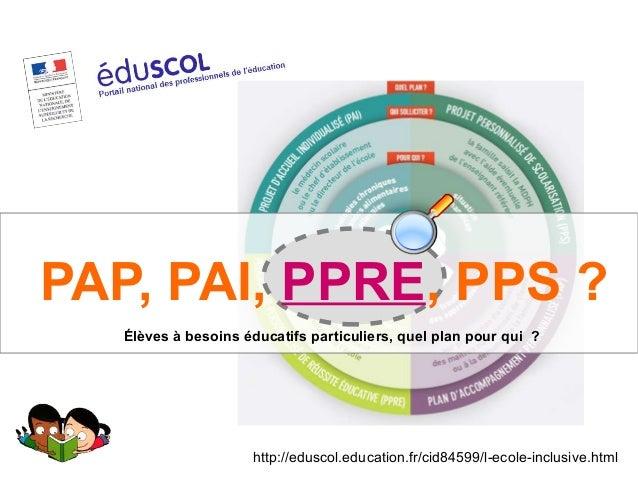 http://eduscol.education.fr/cid84599/l-ecole-inclusive.html Élèves à besoins éducatifs particuliers, quel plan pour qui ?...