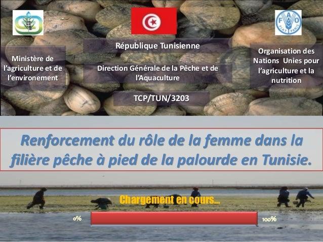 Renforcement du rôle de la femme dans la filière pêche à pied de la palourde en Tunisie. Ministère de l'agriculture et de ...
