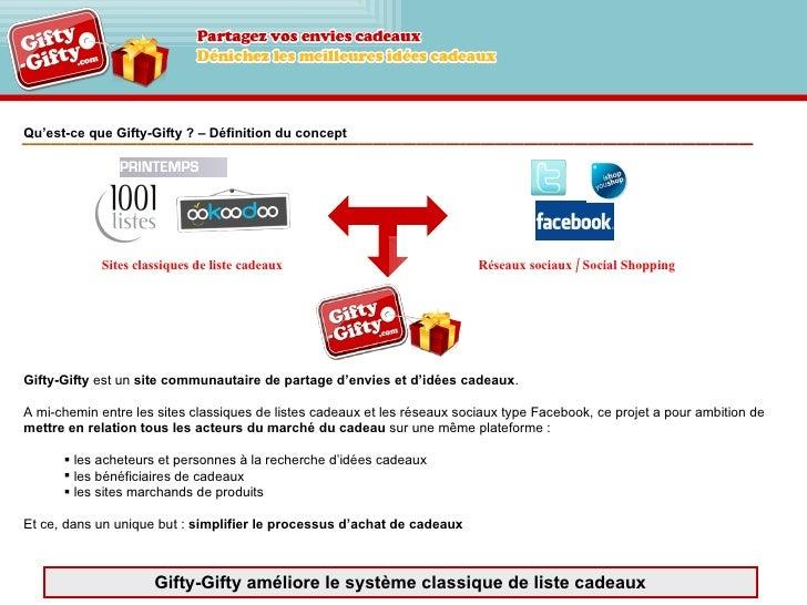 Qu'est-ce que Gifty-Gifty ? – Définition du concept <ul><li>Gifty-Gifty  est un  site communautaire de partage d'envies et...