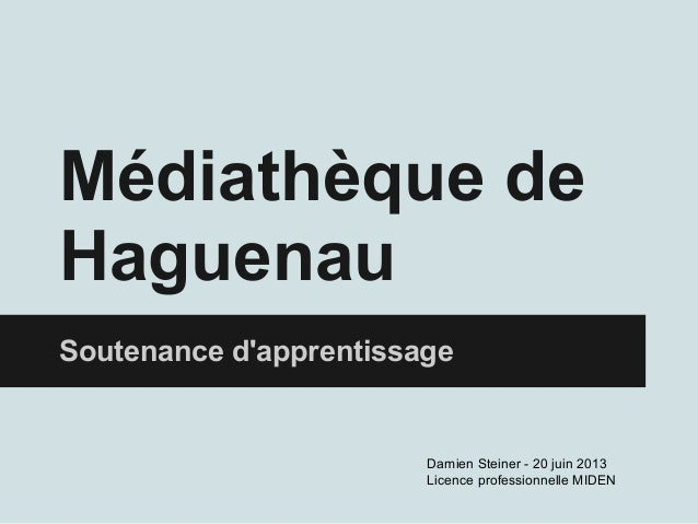 Médiathèque deHaguenauSoutenance dapprentissageDamien Steiner - 20 juin 2013Licence professionnelle MIDEN