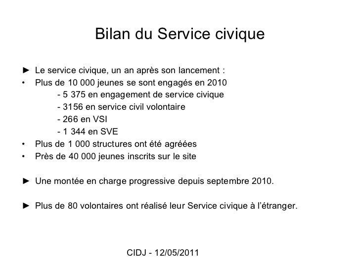 Bilan du Service civique <ul><li>► Le service civique, un an après son lancement : </li></ul><ul><li>Plus de 10 000 jeunes...