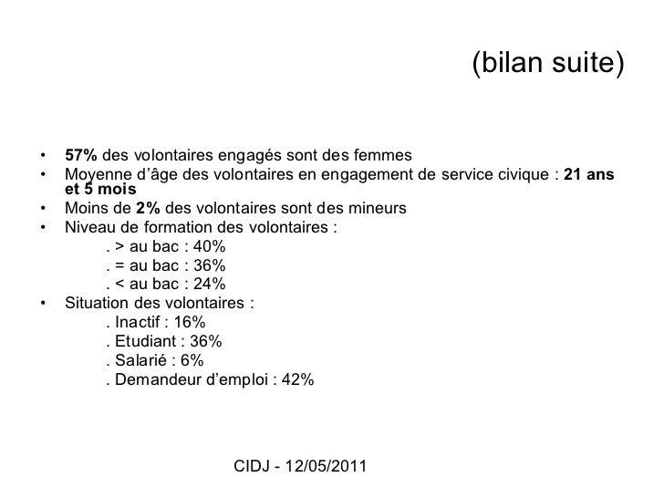 (bilan suite) <ul><li>57%  des volontaires engagés sont des femmes </li></ul><ul><li>Moyenne d'âge des volontaires en enga...
