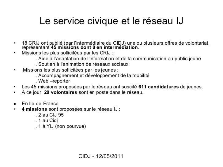Le service civique et le réseau IJ <ul><li>18 CRIJ ont publié (par l'intermédiaire du CIDJ) une ou plusieurs offres de vol...