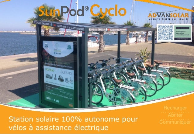 Station solaire 100% autonome pour vélos à assistance électrique Recharger Abriter Communiquer