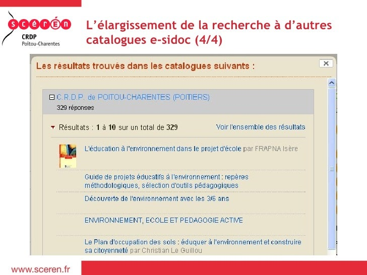 L'élargissement de la recherche à d'autrescatalogues e-sidoc (4/4)