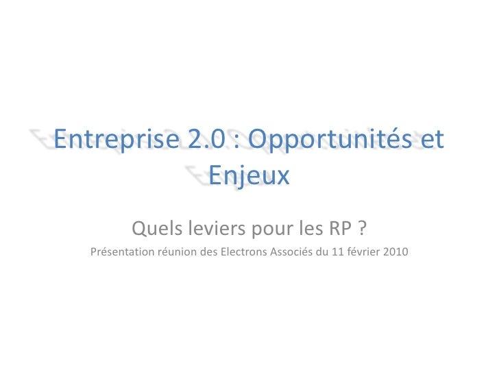 Entreprise 2.0 : Opportunités et Enjeux<br />Quels leviers pour les RP ?<br />Réunion des Electrons Associés du 11 février...