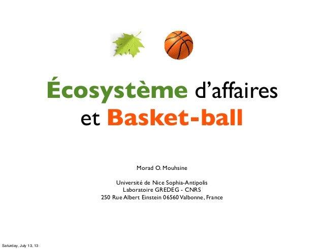 Écosystème d'affaires et Basket-ball Morad O. Mouhsine Université de Nice Sophia-Antipolis Laboratoire GREDEG - CNRS 250 R...