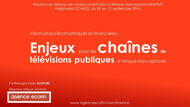 Directeur Afrique centrale  Informations économiqueset financières :  Enjeux pour les chaînesdetélévisions publiques d'Afr...