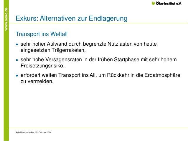 www.oeko.de  Exkurs: Alternativen zur Endlagerung  Transport ins Weltall  ●  sehr hoher Aufwand durch begrenzte Nutzlasten...