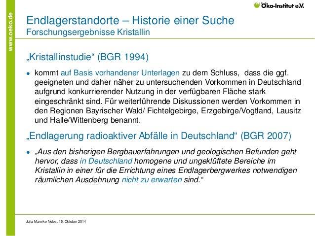 """www.oeko.de  Endlagerstandorte – Historie einer Suche Forschungsergebnisse Kristallin  """"Kristallinstudie"""" (BGR 1994)  ●  k..."""